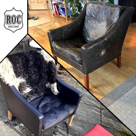 Læderstol farves med ROC Narvsværte