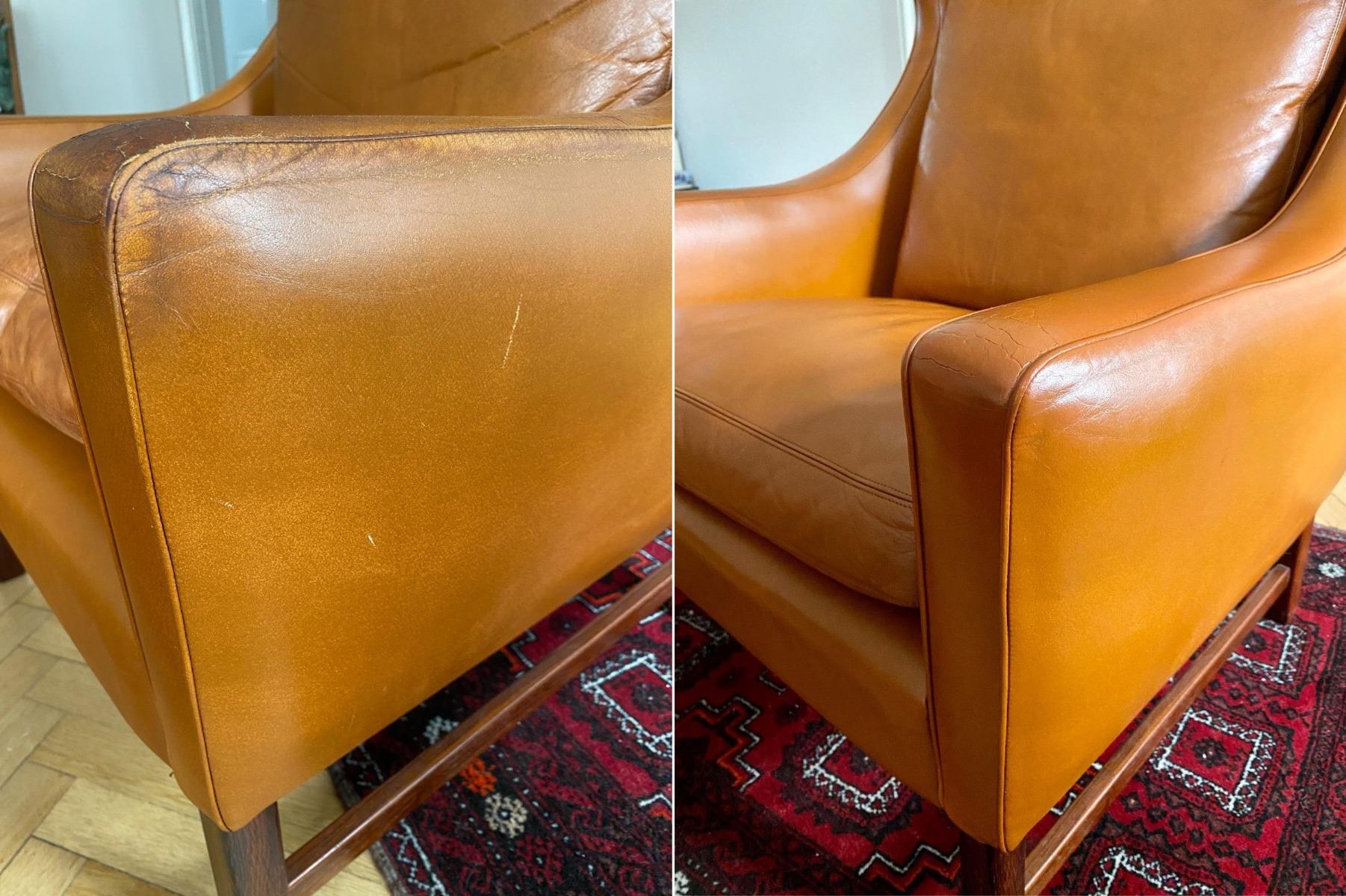 Slidt læder lænestol genfarves med Cathiel Recolour og Gold Quality Læderfedt