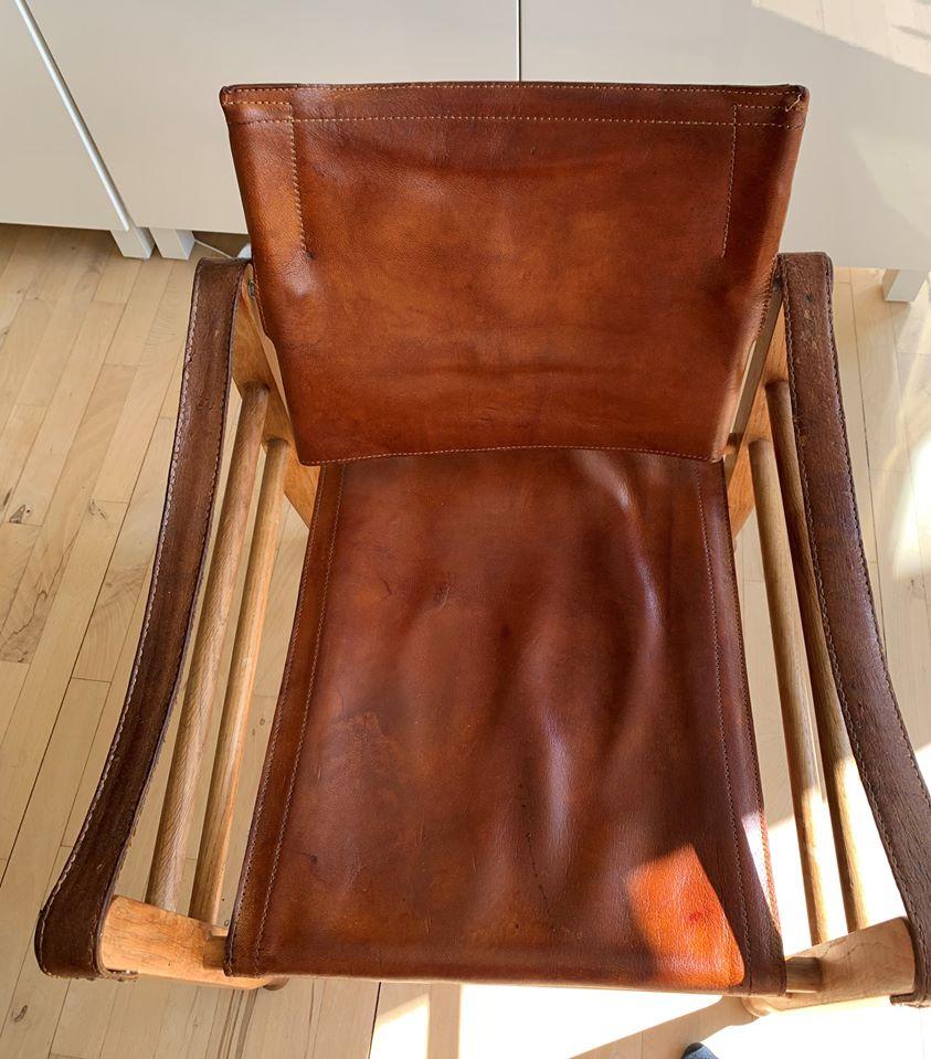 Safari stol i indfarvet kernelaeder - efter