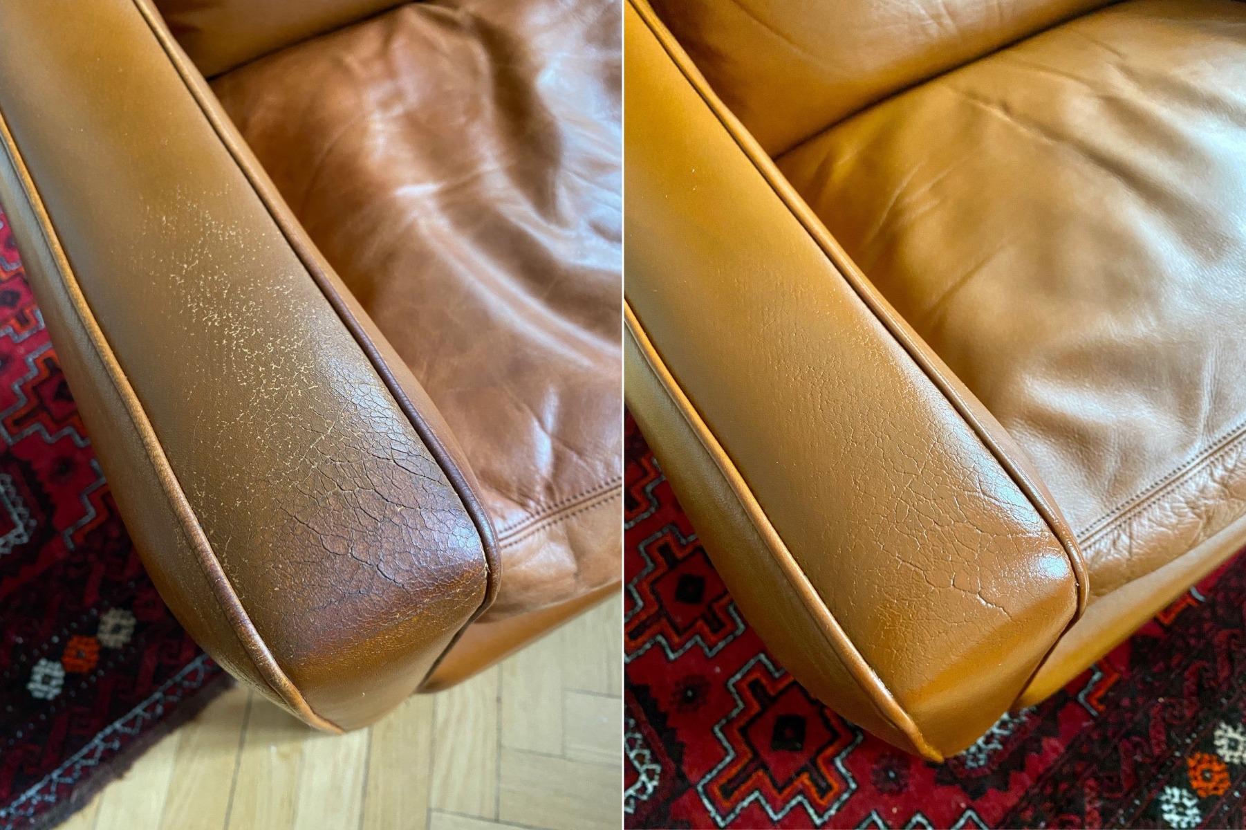 Slidt læder lænestol genfarves med Cathiel Recolour - 2