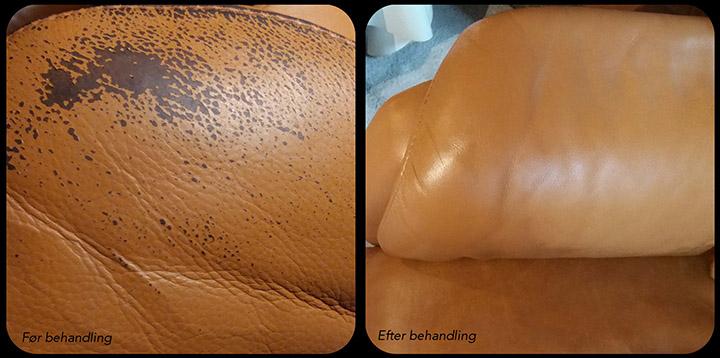 Slidt armlæn på læderstol. før efter billede