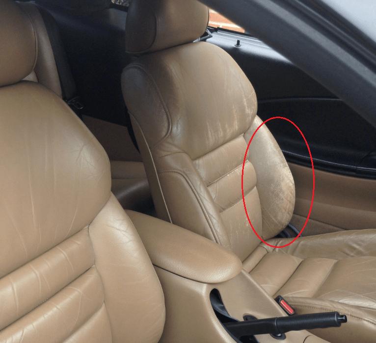 Renovering af meget slidte læder bilsæder