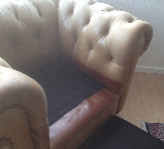 Meget falmet anilin læderstol