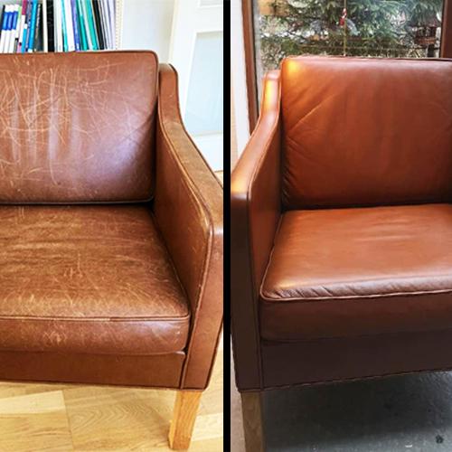 Læderstol farves med ROC Gold Quality Læderfarve
