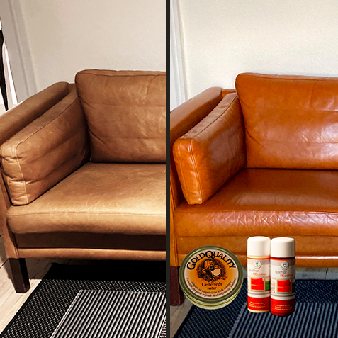 Renoveringscremen Recolour brugt på lædersofa