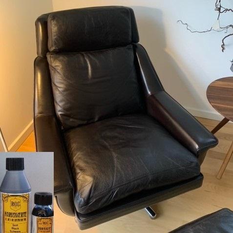 Slidt Læder lænestol får farven tilbage