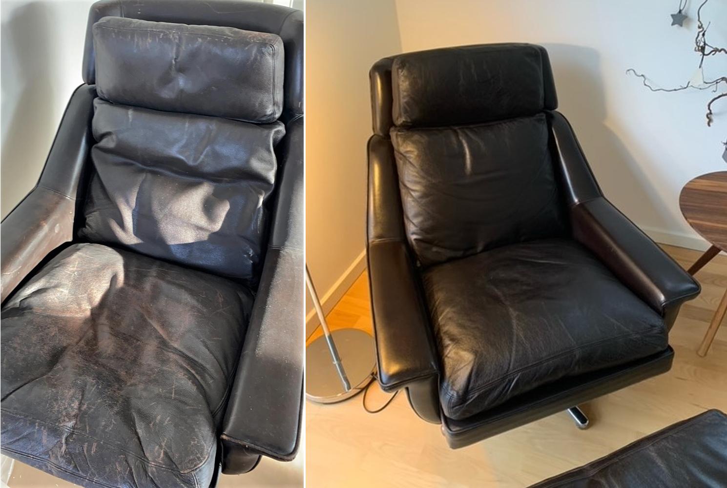 Læderstol efter farvning med ROC Narvsværte