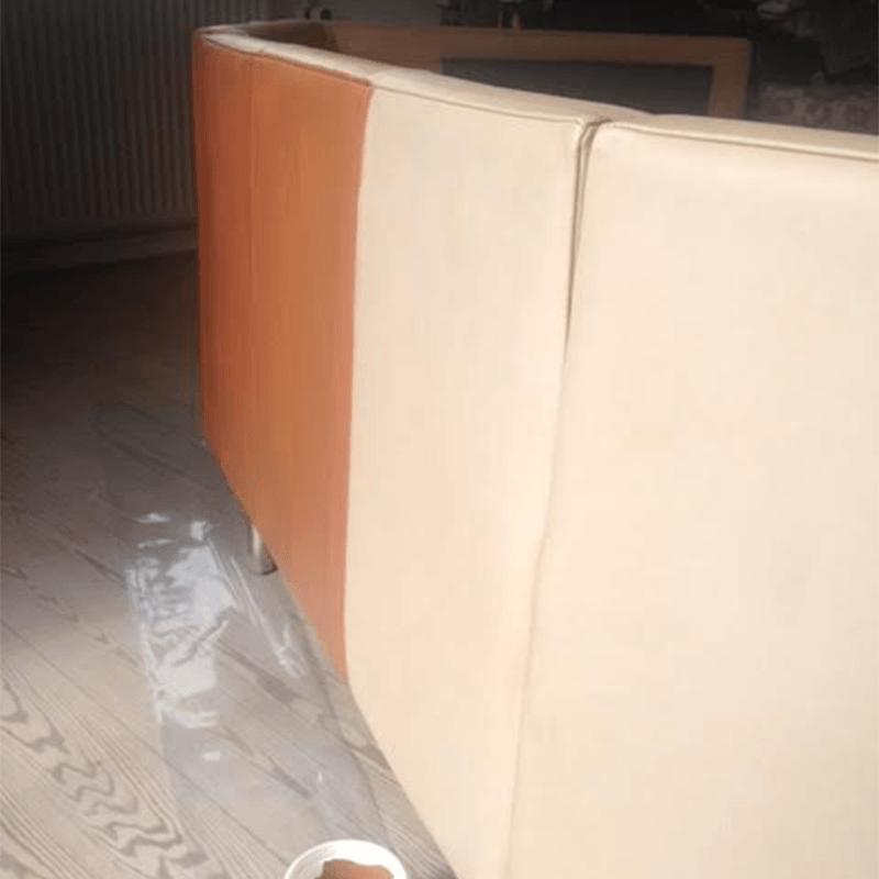 Meget falmet lædersofa