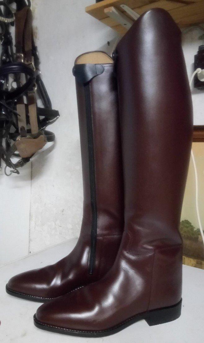 Ridestøvler efter forvandling med læderfarve