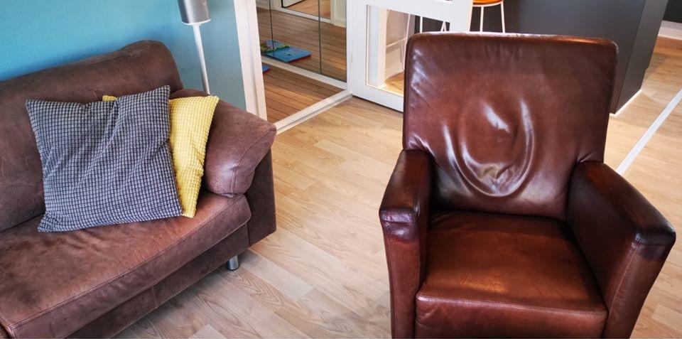 Læderstol behandles med gold quality læderfedt
